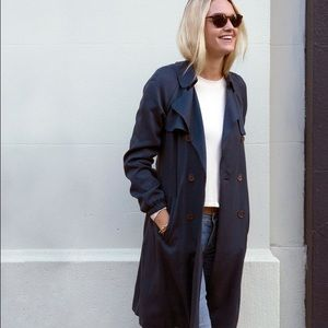 LOFT Navy Belted Trench Coat